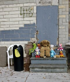 child memorial in a poor neighborhood