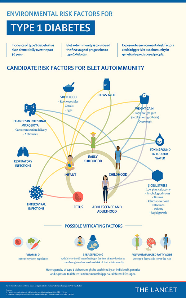The Lancet infographic on environmental risk factors for type 1 diabetes