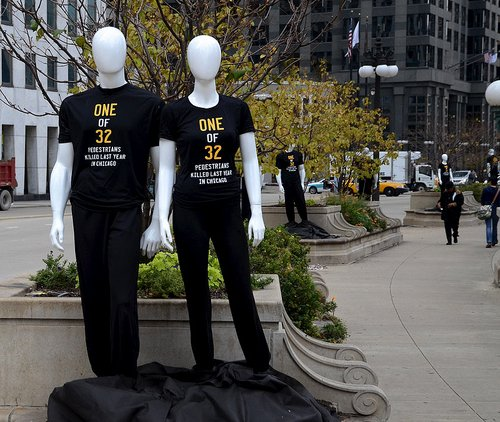 mannequins of killed pedestrians in Chicago