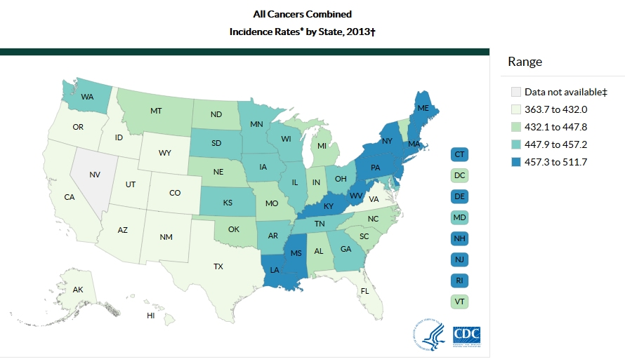 Cancer Research And Resources The Collaborative On Health And - Us cancer rate map