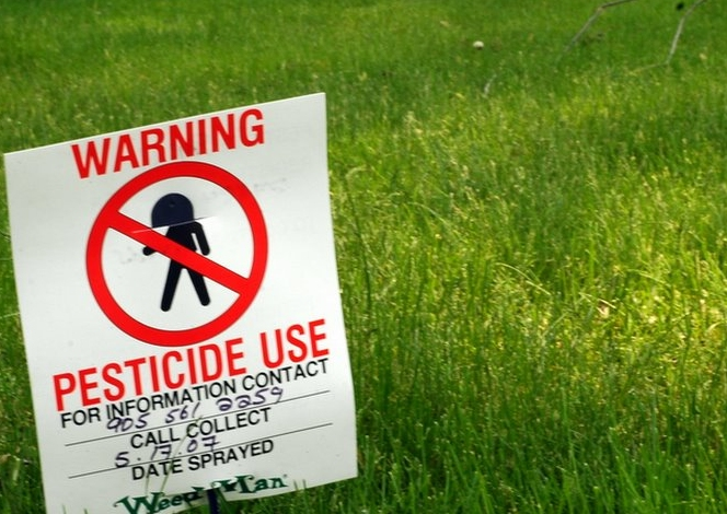 pesticides on a lawn