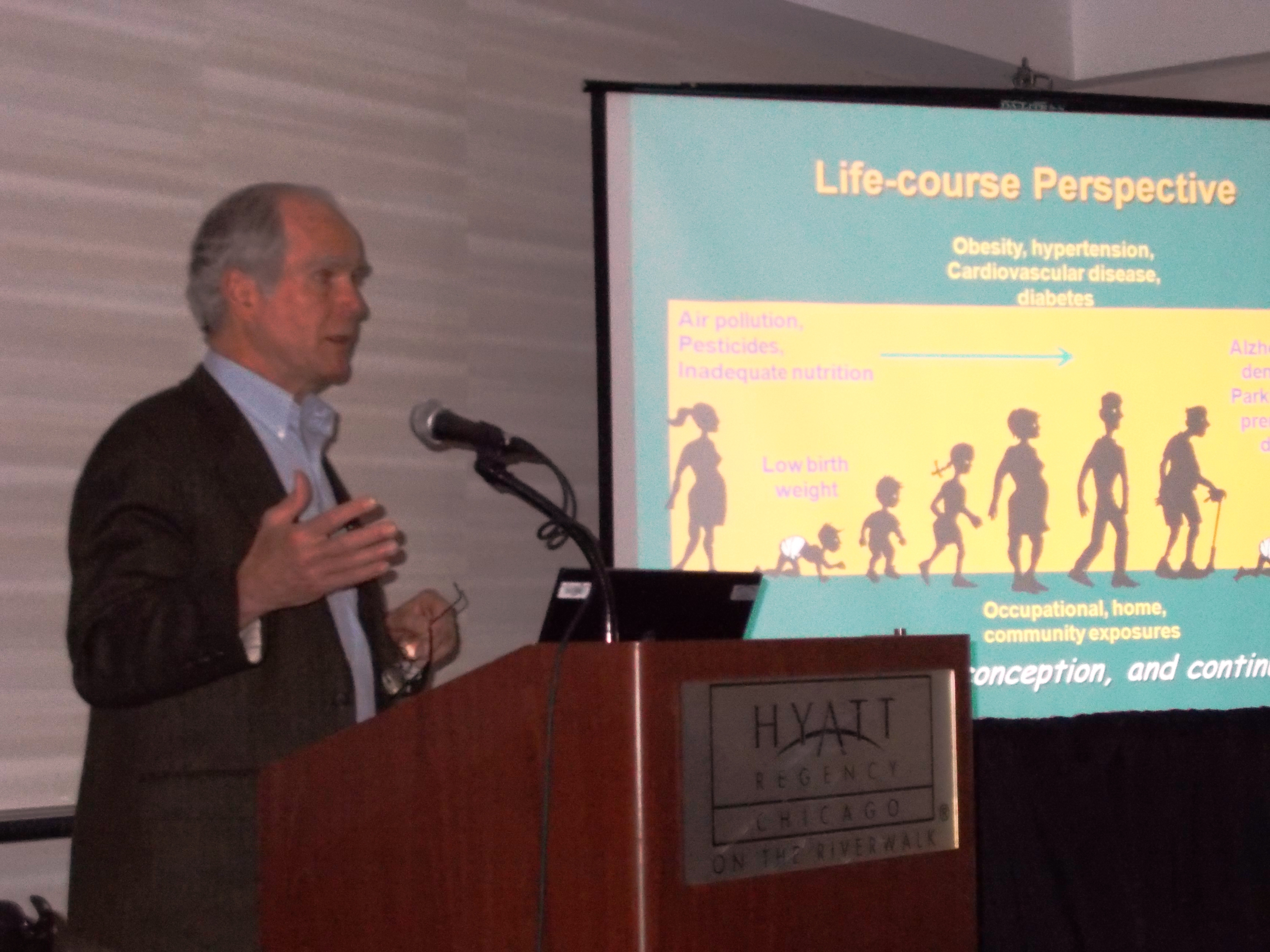 Dr. Ted Schettler speaks about environmental determinants of health across the lifespan at Chicago Aging in America conference